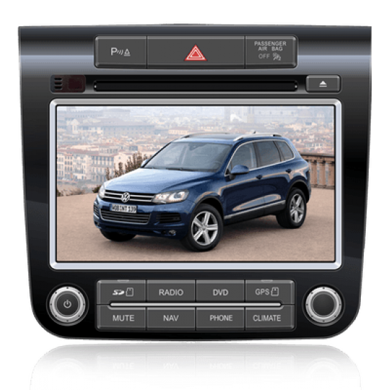 VW Touareg II multimedijos centras Caska Gamyklinio dizaino
