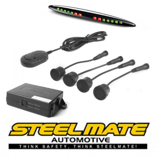 Parkavimo sistema Steelmate PTS411EX galui arba priekiui (universalus), 12-24V su M21 ekranu Parkavimo sistemos