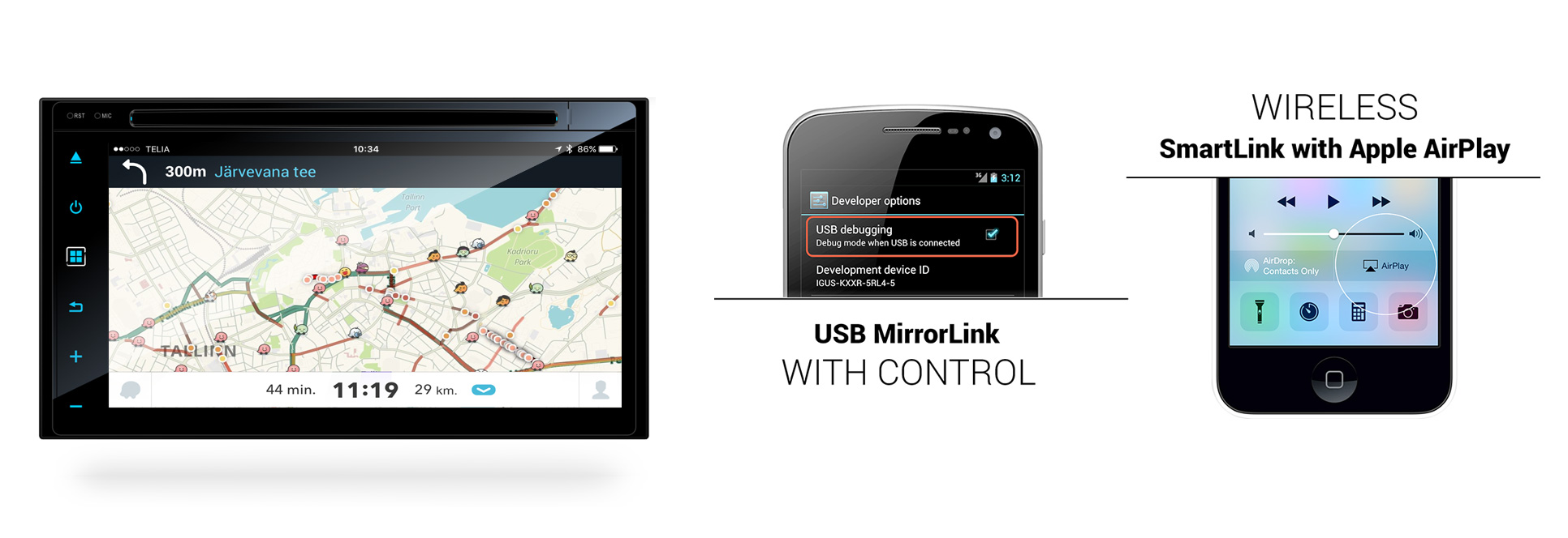 Universalaus multimedijos centro Android 2 DIN ypatumai